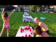 Slip n slide - flip cup - YouTube