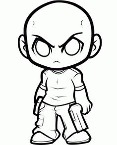 how to draw chibi t-dog, the walking dead step 6