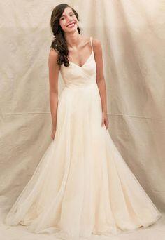 blush colored wedding dress -