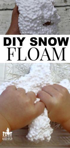 Snow Floam - A DIY Floam Recipe for a fun Sensory Snow Dough! - Sensory activities for kids - Snow Snow Activities, Winter Activities For Kids, Gross Motor Activities, Art Therapy Activities, Sensory Activities, Infant Activities, Sensory Rooms, Sensory Play, Diy For Teens