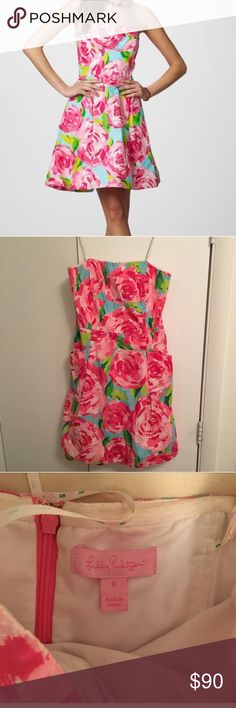 Lilly Pulitzer First Impressions Dress Lilly Pulitzer First Impressions Hotty Pink Dress- size 8. LOVE this dress just have no opportunities to wear it. No imperfections. *reposh* Lilly Pulitzer Dresses Strapless