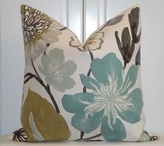 Decorative Pillow Cover - 20 x 20 or 18 x 18 - Accent Pillow - Teal - Aqua  Green - Brown - Tan 0142df699393