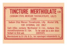 Tincture Merthiolate.  Look at the ingredients!  Its no wonder this stuff hurt like Hell!