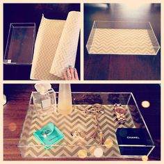 DIY vanity tray. $11.99 acrylic tray from the Container Store lined with wrapping paper.