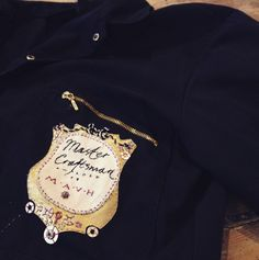 """""""Master Craftsmen awarded to M.H"""" – a triumph of stitching. Embroidered overalls stitched by Rosalind Wyatt for co-founder Mark Henderson Some Pictures, Fiber Art, Chef Jackets, Overalls, T Shirts For Women, Stitching, Tops, Fashion, Costura"""