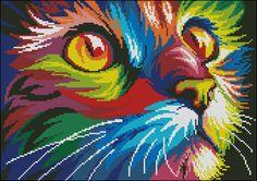 Оригинал схемы вышивки «Радужный кот»
