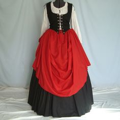 Custom Renaissance Dress - Pirate, Tavern Wench, Peasant Costume - Beautiful 3 Piece Outfit. $107.00, via Etsy.