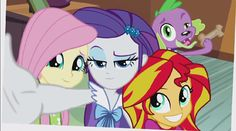 Selfies with Fluttershy, Rarity, Sunset Shimmer, and Spike!! Cute!❤️