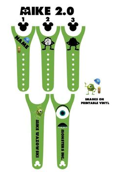 IMPROVED 2.0 Magic Band Decals Monsters Inc. Sully Mike