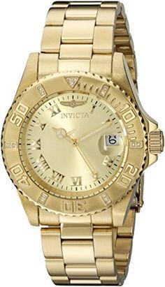 Invicta Damen-Armbanduhr Analog Quarz Edelstahl beschichtet 12820 - http://uhr.haus/invicta/gold-gold-invicta-damen-armbanduhr-analog-quarz