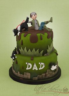 For a dad who gets dragged through mud puddles by his cat-chasing dog! Fondant Cakes, Cupcake Cakes, Fondant Icing, Cupcakes, Beautiful Cakes, Amazing Cakes, Dog Cake Topper, Cake Toppers, Dad Cake