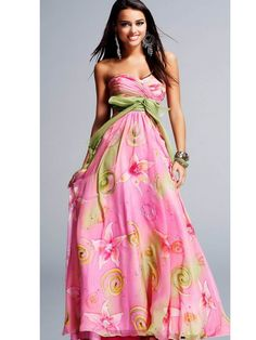 Sparkly pink and green formal dress