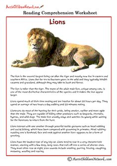 FREE COMPREHENSION WORKSHEETS~  Check out these interesting printables about a variety of animals.