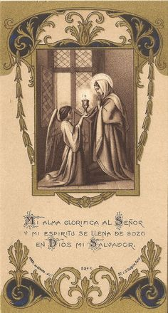Antique Vtg Holy Spanish Prayer Card My Soul Magnifies & My Spirit Rejoices