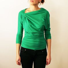 Womens Green  Asymmetrical Draped Top  available in by dressign, €45.00