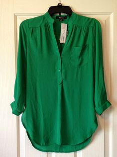 Gorgeous emerald green blouse! https://www.stitchfix.com/referral/3336125 Stitch Fix #2 -- I loved the stunningly gorgeous color of this Colibri Solid Tab Sleeve Blouse from 41Hawthorn  with <3 from JDzigner www.jdzigner.com