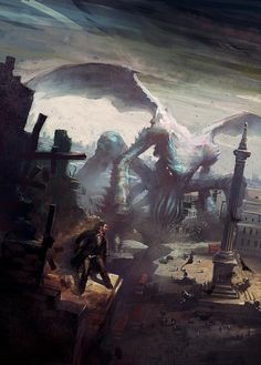 """It's well known that the great Cthulhu has a particular bond with artists of all sorts. Lovecraft's """"The Call of Cthulhu"""" it's docu. Hp Lovecraft, Lovecraft Cthulhu, Monster Art, Dark Fantasy, Fantasy Art, Le Kraken, Dibujos Dark, Dragons, Eldritch Horror"""