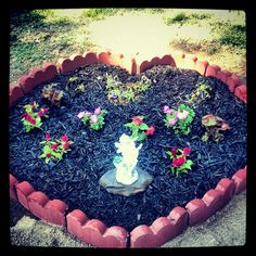 A memorial flower garden, called Heavens Garden created by Amy! A memorial flower garden, called Hea Memorial Flowers, Garden Leave, In Memory Of Dad, Fun Games, Stepping Stones, Heavens, Amy, Backyard, Memories