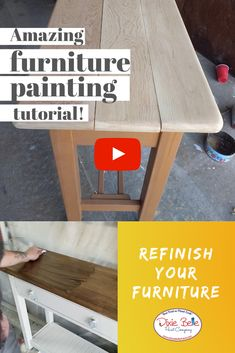 Looking to give your furniture an update? Watch this awesome video by Ryan aka That Shabby Guy to learn how. Products used - Drop Cloth Chalk Mineral Paint: . Furniture Repair, Diy Furniture Projects, Paint Furniture, Furniture Makeover, Cool Furniture, Furniture Making, Refurbished Furniture, Repurposed Furniture, Shabby Chic Furniture