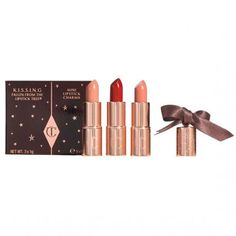 Valentine's Day Gift Guide: Beauty - Charlotte Tilbury KL.I.S.S.I.N.G. Mini Lipstick Charm Trio from #InStyle