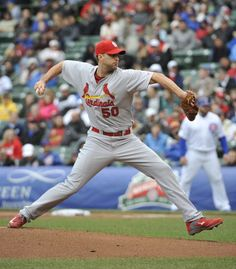 Adam Wainwright pitches against the Chicago Cubs during the first inning. Cards lost the game 6-5. 5-02-14