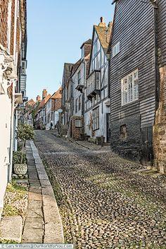 Looking up Mermaid Street, Rye, East Sussex, England, UK