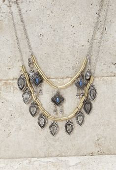 Longline Layered Charm Necklace | Forever 21 - 1000116358