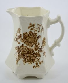 Reserved for Jackie Vintage English Brown Toile Transferware Victorian China Pitcher Charlotte Basket Roses