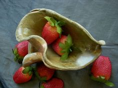 Ceramic Leaf Bowl, Wood Fired - Wintergreen by Sally Anne Stahl @ www.clayshapergallery.com