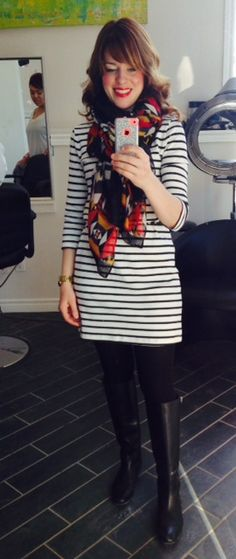My Saturday Style ~ Striped Shift Dress, #SITC Tribal Scarf, Black Flat Riding Boots, # SITC Glamour Puss Red Lipstick ~ http://sextoninthecity.ca/the-10-dress/ #ootd