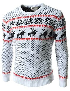 (FFT11-WHITE) Slim Fit Snowflake Pattern Round Neck Knitted Long Sleeve Tshirts