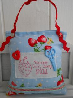 Strawberry themed pincushion by picocrafts on Etsy, $7.50