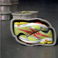 Most shoes aren't perfectly square, so why should their packaging be? That's the question answered by this slick package for Newton running shoes, which use molded recycled cardboard -- a material similar to egg cartons -- to create a size-sensible package for a pair of shoes. And, instead of stuffing them with useless paper packing, they put a pair of socks in one shoe, and a reusable shoe bag in the other.