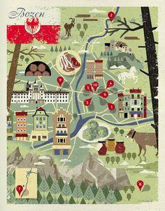 Dieter Braun, map of Bozen for essen & trinken