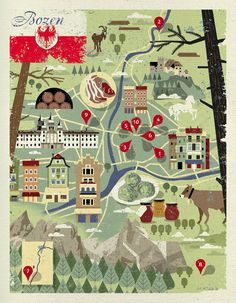 Dieter Braun, map of Bozen for essen & trinken