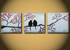 Love Birds - große Malerei, 36 x 12, Acryl malen, malen auf Leinwand, ORIGINAL Gemälde, eines eine Art Malerei, Liebe Vögel