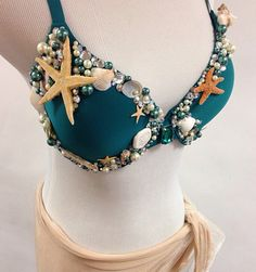 34D Emerald Mermaid top  Real sea shell, pearl & rhinestone detailing  small nude/glitter wrap skirt