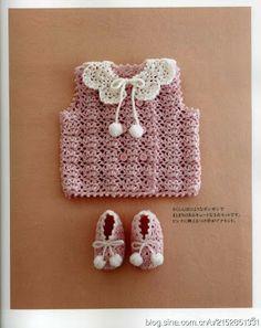 Crochê Tricô - Gráficos: Vestido, Colete e Gola para Bebê ༺✿ƬⱤღ  https://www.pinterest.com/teretegui/✿༻