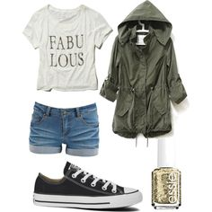 Untitled #111 by halliec on Polyvore featuring polyvore, fashion, style, Abercrombie & Fitch, Pieces, Converse and Essie