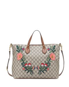 GG+Supreme+Embroidered+Top-Handle+Tote+Bag,+Multi+by+Gucci+at+Neiman+Marcus.