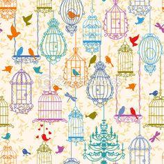 aves y jaulas vintage patrón