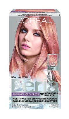 L & # Oreal Féria Fashion Metallics Roségold Haarfarbe - Hair, Color - Frisuren Gold Hair Colors, Hair Color Purple, Hair Color And Cut, Hair Dye Colors, Cool Hair Color, Diy Rose Gold Hair, Rose Gold Hair Brunette, Rose Hair, Pastel Hair