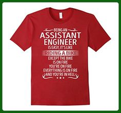Mens Being An Assistant Engineer Its Like Riding A Bike TShirt Small Cranberry - Careers professions shirts (*Amazon Partner-Link)
