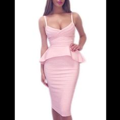Baby Pink Two Piece Midi Skirt and Peplum Set Beautiful baby light pink midi and peplum set. Amazing quality bandage material. Heafty zipper at back. Miss Circle Dresses Midi