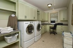Featured on Houzz - Traditional Laundry Room by Designs by BSB painted in @benjamin_moore 2015 Color of the Year  Guilford Green #coloroftheyear