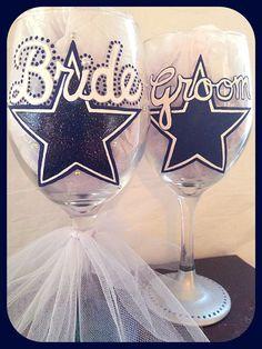 Dallas Cowboys Wedding Glasses Sports Themed by WattsGoodArtistry