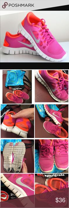 Amazing pink orange Nike Free Run shoes Comfy an trendy, prefect for a workout or fun. Preloved. Need a wash. Lots of life left. Size 6.5Y; I wear a 6.5-7 in women's and they fit perfect! Listed as a 7, women's. Make these yours today. Nike Shoes Sneakers