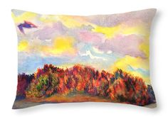 """View of Goat Island from Clackamette Park 20"""" x 14"""" Throw Pillow by Anna Porter.  Multiple sizes available."""