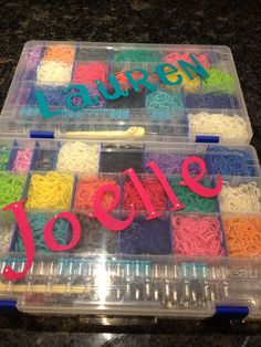 Personalized Rainbow Loom cases for my twins :) Rainbow Loom Case, Rainbow Loom Organizer, Rainbow Loom Bands, Wonder Loom, Rainbow Loom Creations, Loom Craft, 13th Birthday Parties, Love Sparkle, Loom Bracelets