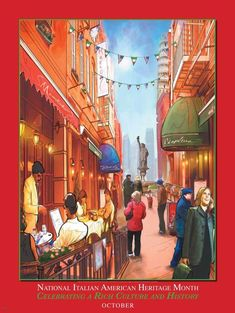 National Italian American Heritage Month Poster Celebrating a Rich Culture and History October Item# Size: 18 x European American, Heritage Month, Culture, History, Om, Poster, Painting, Historia, Painting Art